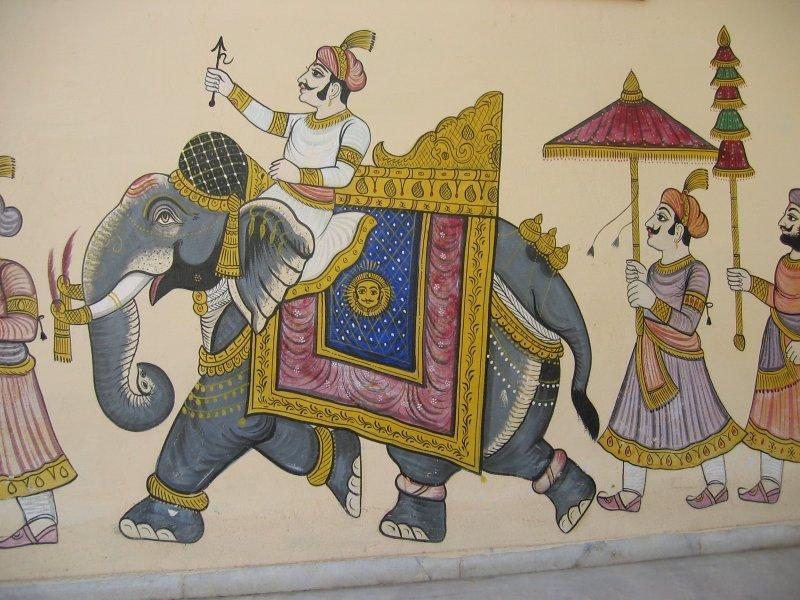 Wandbild in Udaipur