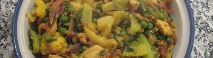 Pouletfleisch Gobi mit Erbsen Curry