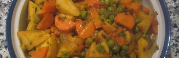 Sellerie mit Erbsen und Karotten Curry
